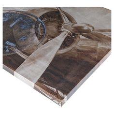 History Of Aviation II Printed Silver Metallic Canvas