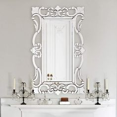 Howard Elliott Rebecca 29 x 47 Scroll Wall Mirror Mirror Hanging Brackets, Wood Frame Construction, Ornate Mirror, Round Wall Mirror, Wall Mirrors, Video Wall, Scroll Design, Beveled Glass, Frames On Wall
