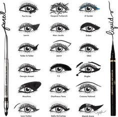 Pencil and liquid eyeliner...  Pencil gives it more natural  Liquid is more dramatic