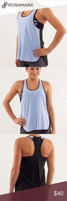 Lululemon 🍋 Pump It Up Tank Removable Bra Lululemon Pump It Up Tank | Polar Haze / Black | 8 | designed for: run, gym fabric(s): Power Luxtreme®, Ultra-Light Swift, Circle Mesh properties: moisture-wicking, breathable, four-way stretch, quick-dry shelf bra: yes - can be worn separately support level: medium coverage: low fit: loose length: bum covering lululemon athletica Tops Tank Tops