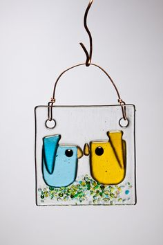 Yellow and Aqua Kissing Birds Handmade Fused by WarmGlassWonder