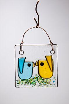 Yellow and Aqua Kissing Birds Handmade Fused by WarmGlassWonder
