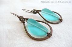 orecchini - turquoise - orecchini rame,vetro forgiatura,assemblaggio
