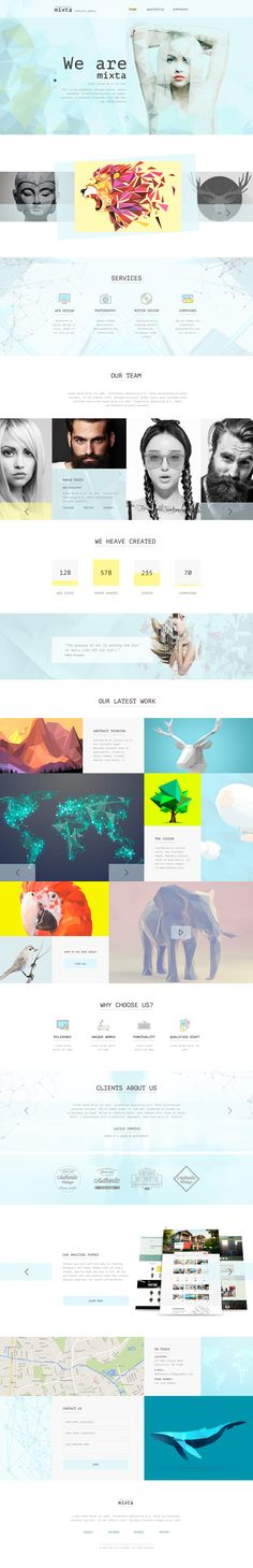 Mixta — Creative Agency, Portfolio #PSD Template have an awesome design for website of Personal Portfolio, News / Magazine, Fashion, Creative Blog, Gallery Photo, Creative Corporate, Community, Company Profile, Agency and other. It's clean, modern and beautiful grid based template. Download Now➝ http://themeforest.net/item/mixta-creative-agency-portfolio-psd-template/12796794?ref=Datasata
