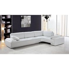 Blanco - White Leather Modern Sectional - Sectional Sofas - Living Room