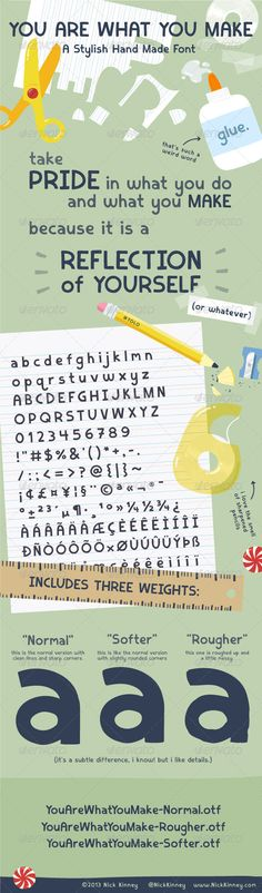 Crafty DIY Style Font #GraphicRiver (look best at larger sizes, headlines & titles) created arts & crafts themed font for project. has appearance of being hand crafted with scissors & scrap paper or hand drawn. 3 weights included. differences subtle & most notable at larger sizes: Norma, Rougher, Softer. Languages Designs made with pride. Nick Kinney Created: 2August13 CompatibleOS: Mac #PC FontFilesIncluded: OpenTypeOTF OptimumSize: 30pt