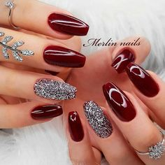 Accent nails: punch your mani in 10 easy ways - burgundy nails with . - Accent nails: punch your mani in 10 easy ways – burgundy nails with glitter accent - Sexy Nail Art, Sexy Nails, Trendy Nail Art, Prom Nails, Cute Nails, Wedding Nails, Perfect Nails, Gorgeous Nails, Acrylic Nail Designs