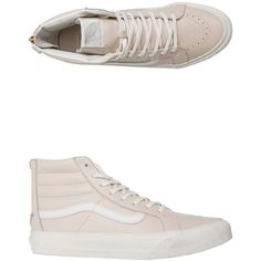 Vans Leather Sk8-hi Slim Zip Shoe ($80) ❤ liked on Polyvore featuring shoes, sneakers, pink, leather high tops, hi tops, high top zipper sneakers, pink high tops and high top shoes