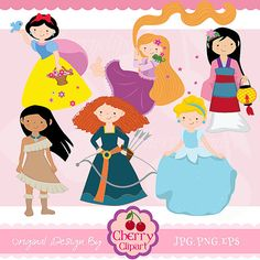 Fairytale Princess 2 -Digital Clipart Set for-Personal and Commercial Use- for Card Design, Scrapbooking, and Web Design