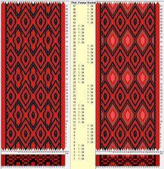 34 hexagonal cards, 2 / 5 colors, repeats every 12 rows GTT༺❁ Inkle Weaving, Inkle Loom, Card Weaving, Weaving Art, Tablet Weaving Patterns, Weaving Textiles, Card Patterns, Loom Patterns, Finger Weaving