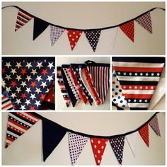 Patriotic 4th of July Banner / Memorial Day / Veteran's Day / Flag Day / Fabric Pennant Banner // Cloth Bunting /  Cookout / Barbeque    sweetoctobershop.etsy.com