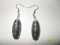 Black and silver stoned earrings.