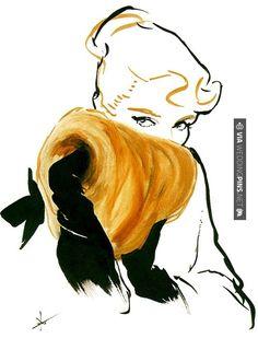 Fashion Illustration René Gruau for Pierre Balmain Jolie Madame 1953 Edited. Art And Illustration, Fashion Illustration Vintage, Fashion Illustrations, Pierre Balmain, Rene Gruau, Christian Dior Couture, Photocollage, Alphonse Mucha, Art Photography