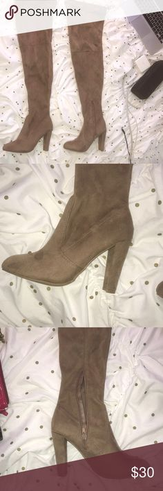 Brown thigh high boots Perfect condition. Never worn. I am 5ft and these go way past my thigh.  Working zippers, no wear, never used. Ties on the back of the boots   Heel height: 3.5 inches   Shaft height 23 inches Wild Diva Shoes Over the Knee Boots