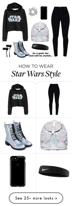 """""""STAR WARS 2"""" by at-39thst-fashion on Polyvore featuring H&M, 3 AM Imports, Speck, Outdoor Tech, NIKE, black, holographic and starwars"""