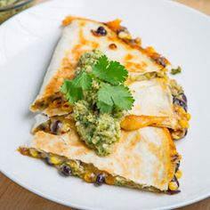 Corn and Black Bean Quesadillas with Roast Zucchini Salsa