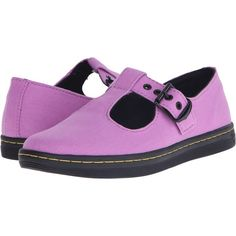 Dr. Martens Woolwich T Bar (Psych Purple) Women's Maryjane Shoes ($35) ❤ liked on Polyvore featuring shoes, pink, dr martens mary janes, purple shoes, lightweight shoes, dr martens shoes and strap shoes