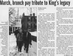 "Post (Athens, Ohio) January 20 2009, page 1: ""March, brunch pay tribute to King's legacy"" ""'The march was symbolic of how far we've come as a nation and how far we still have to go,' said Keith Mitchell, vice president of Alpha Phi Alpha, the first fraternity founded by and for African-Americans."" :: Ohio University Archives"