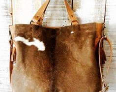 22e57cee7eec9 Cow hide purse leather bag brown cowhide bag crossbody by Percibal. Mindy  Piperno Paquin