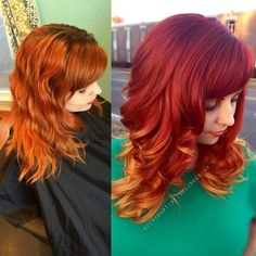 Love this fiery shade by @vividartistichairdesign using Kenra Color! She used 6RR + Red Booster/20 vol for her new growth. 6RC/20 vol for mids and Lightener/20 vol on ends with no toner...melting the 3 formulas down.