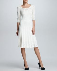 Elbow-Sleeve Crochet Sweater Dress, Cream by Ralph Lauren Black Label at Bergdorf Goodman.