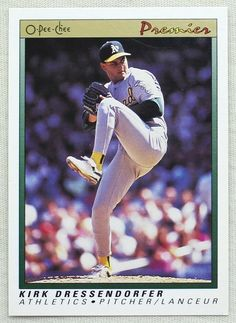 1991 O-Pee-Chee Premier Baseball 36 Kirk Dressendorfer Oakland Athletics (RC) #Athletics #OaklandAthletics Oakland Athletics, Athlete, Baseball Cards, Store, Ebay, Storage, Shop