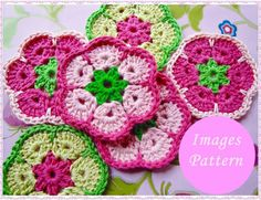 Crochet Flower Squares Free Patterns | Sweet African Flower Square Crochet Images Pattern on Wanelo