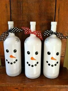 Wine bottle snowman by chachonia