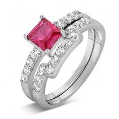 2 CTW Cubic Zirconia Women's Bridal Wedding Ring Set In 14K White Gold Plated 7 #br925silverczjewelry