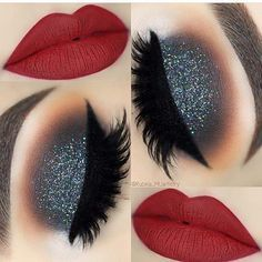 Festive, Glitter Eyes and Red Lips Eye Makeup Look lip makeup 43 Christmas Makeup Ideas to Copy This Season Red Lip Eye Makeup, Eye Makeup Tips, Smokey Eye Makeup, Makeup Goals, Beauty Makeup, Makeup Lips, Makeup Products, Makeup Hacks, Makeup Brands