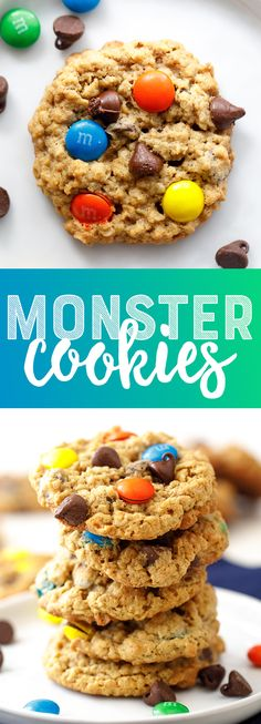 Easy Monster Cookies - this is everyone's favorite chewy, chocolate-filled cookie! Cookie Recipes From Scratch, Delicious Cookie Recipes, Easy Cookie Recipes, Cupcake Recipes, Easy Desserts, Dessert Recipes, Top Recipes, Brownie Recipes, Super Cookies