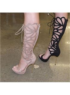 Sexy Butterfly Cut-Outs Lace-Up Dress Sandals