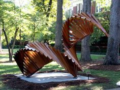 "#SalisburySculptureShow  WINDING OUT  CEDAR, STEEL, CLEAR PRESERVATIVE  12' H  X  14' W X 8'-6"" D    500 LBS.     Robert Winkler  Asheville, NC    https://www.facebook.com/salisburysculptureshow #Salisbury"