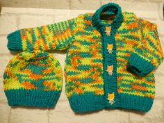 hand knitted baby cardigan & hat set / knitted baby sweater / multi color cardigan / knitted baby hat / unisex sweater / 3-6 month sweater by Icklepickleknitwear on Etsy