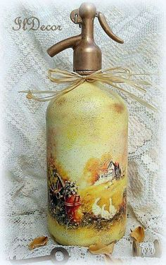 The transformation of soda-water bottle decoupage Decoupage, Bottle Art, Water Bottle, Soap Dispenser, Soda, Glass Art, Mixed Media, Perfume Bottles, Crafts