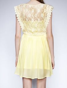Pale yellow lace dress for the bridesmaid
