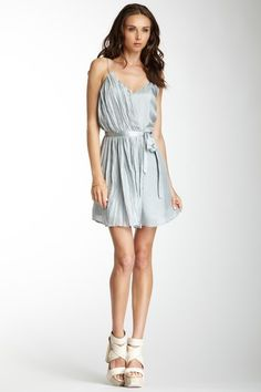 madison marcus silk spaghetti strap wrap dress