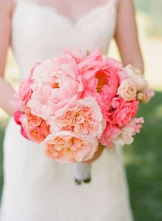 Super Romantic Bridal Bouquet, Arranged With: Pink & Light Pink Peonies, Peachy/Pink English Garden Roses, Ranunculus, Coral Roses, Pink & Light Pink Roses, & Pink Sweet Pea