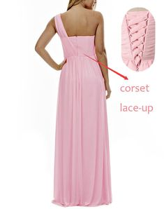 378e8f2e662 XJLY Elegant One Shoulder A Line Long Chiffon Bridesmaid Dress Wedding  Party Gowns  gt  gt