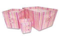 Pink Stripe Juicie Fruitie Fabric Storage Bins Keep your nursery neat, organized and fashionable with this storage bin set by Trend