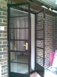 Door to terrace- Art Deco horizontal bar doors Modern Minimalist, Minimalist Design, Crittal Doors, Steel Doors And Windows, Crittall, Living Room Divider, Glass Installation, Back Doors, Panel