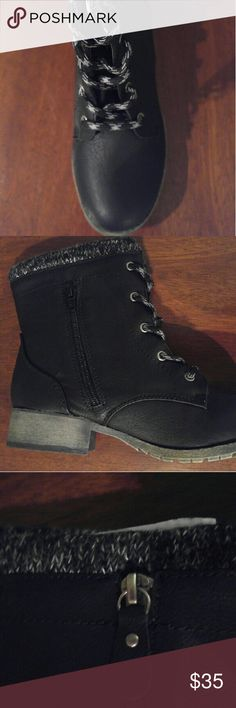 New short boots black lace front side zipper Black Leather Like short boot with lace up front and small side zipper.  Fabric/knit top cuff jellypop Shoes Lace Up Boots