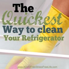 Cleaning your refrigerator can be a real pain in the neck.  It's gross and dirty and it takes forever to get it done.  I've developed a simple method that takes half the time!