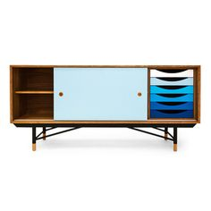 Baxton Studio Alphard Mid-century Dark Walnut and White Two-tone Finish Wood TV Cabinet | Overstock.com Shopping - The Best Deals on Entertainment Centers