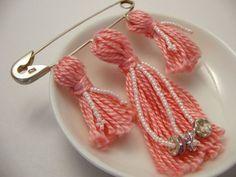 Pink Flower Beaded Tassel Pin Brooch by lizbethsgarden on Etsy, $15.00