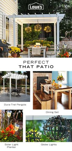 patio perfection all year long by shopping and upgrading your outside space today – tap the Pin to learn more. Backyard Patio Designs, Backyard Landscaping, Backyard Pergola, Outdoor Dining Set, Outdoor Spaces, Gazebo, Outdoor Lighting, Outdoor Decor, Backyard Lighting