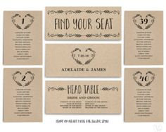 Wedding Seating Chart template, Header Signs and Table Signs 1-40, Printable Wedding Table Chart, Heart Wreath, SC003 VW08