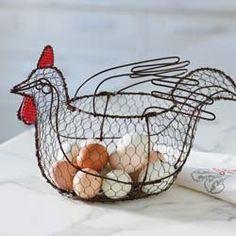 Wire Beaded Chicken Basket