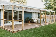 Cozy backyard patio deck design ideas - nary a yard retreat is full with no deck constructed for entertaining. Similar to any indoor area. Pergola Patio, Pergola With Roof, Pergola Shade, Wooden Pergola, Patio Railing, Backyard Shade, Screened In Patio, Cheap Pergola, Deck Gazebo
