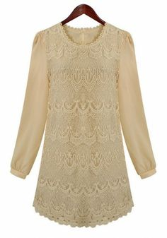 Love it! Apricot Embroidery Long Sleeve Loose Lace&Flax Dress